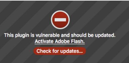 adobe flash plugin warning of needed update